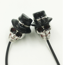 Cheap Stereoscopic Skull Earphones for Kids Boys Girls Cool Skull Wearing Hat with Glass Earphone for Samsung Huawei Soft Earbud