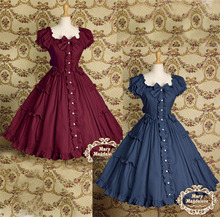 Navy/Red Victorian Vintage Puff Sleeve Dress Retro Ball Grown Lolita Princess Bowknot Tutu Party Prom Dancing Dress