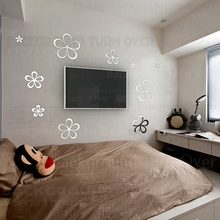 Creative hollow design TV backdrop flower wall sticker for bedroom girl room decorative mirrors R020(China)