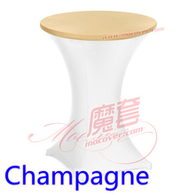 Champagne colour spandex top cover for round cocktail lycra table cloth wedding banquet party cocktail table decoration sale