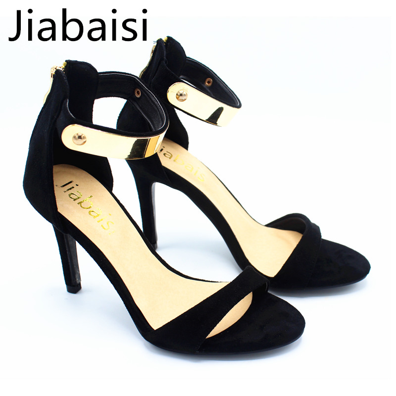 Jiabaisi shoes Women sandal summer High Heel leopard dazzling metal shining Stiletto shoes Wedding Party Basic Shoes woman<br>