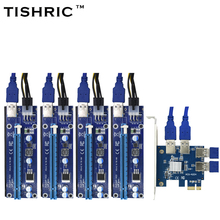 TISHRIC 2018 Hot Sale PCIE PCI-E PCI Express 1 to 4 USB 3.0 1X to 16X Riser Card Multiplier Hub Adapter For Bitcoin Mining Miner(China)