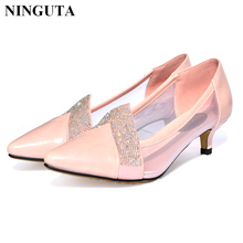 Fashion crystal wedding shoes woman pointed toe low high heel summer ladies shoes(China)