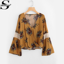 Sheinside Flare Sleeve Random Lace Panel Surplice Blouse 2017 Fall Yellow V Neck Floral Printed Long Sleeve Elegant Blouse(China)