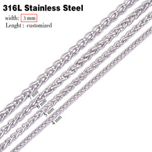 3.0mm width 316L stainless steel chain necklace men long punk statement swag chain necklace vintage men jewelry