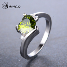 Bamos Romantic Olive Green Birthstone Heart Ring Round Cubic Zirconia White Gold Filled Rings For Women Fashion Wedding Bands