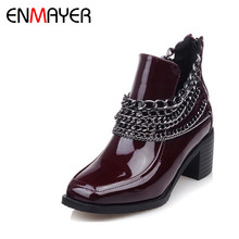 ENMAYER Chains Charms Ankle Boots for Women High Heels Zippers Platform Winter Warm Boots Shoes Woman Black Motorcycle Boots