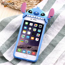 KISSCASE Cute 3D Cartoon Phone Cases For Apple iPhone 6 6s 3D Stitch Case Soft Silicon Cover For iphone 6 6s 7 Plus Coque