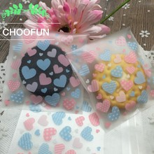 500pcs Lovely Heart Shape Self Adhesive Seal Wedding Candy Package Bags Gift Cookie Biscuit Baking Plastic Packaging Bags BZ158(China)