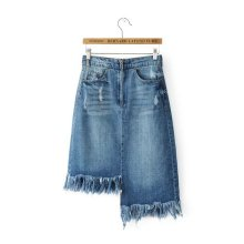 2017 Asymmetric Fringe Hem Denim Skirts Zipper Fly No Strech Stylish Denim Skirts 5 Pockets