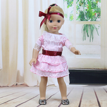 Children Pink skit Bowknot Headwear Doll Accessories Baby Born Doll Clothes Fit 18 inch Baby Born Doll Handmade Doll Dress OS034