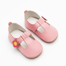 Princess Baby Shoes with Flower Genuine Leather Baby Moccasins Anti Slip Soft Sole Infant Toddler Girl Shoes 3 Colors(China)