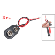 KSOL New Style 3 pcs Leather Shell 9V 9 Volt Battery Clip Connector Cable