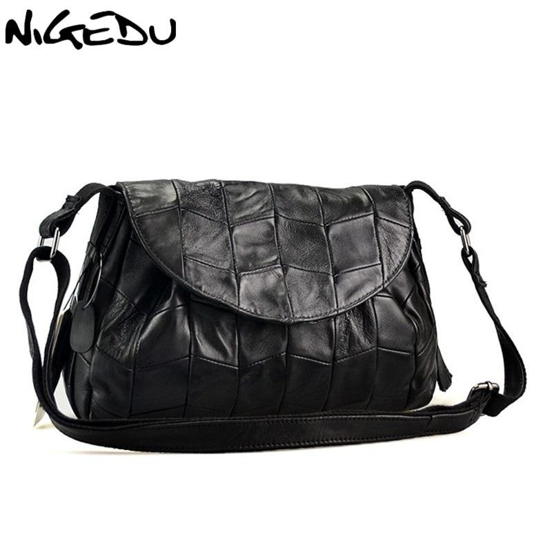 Fashion Sheepskin patchwork Womens Crossbody Bags soft Genuine leather women Shoulder bag messenger bag Handbags Free shipping<br>
