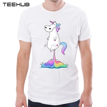 TEEHUB 2017 New Arrivals Men's Fashion Funny launching Unicorn Printed Short Sleeve T-Shirt Male Cool Tops Casual O-neck Tee(China)