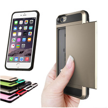 i6 Luxury Slim Hybrid Credit Card pocket wallet pouch case for iphone6 TPU PC Back Cover for Apple iPhone 6 6s