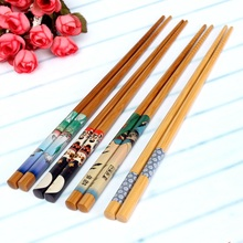 New!!!5 Pairs Natural Bamboo Wood Japanese Painting Chopsticks Value Dinner Reusable Gift Kitchen Restaurant Tableware