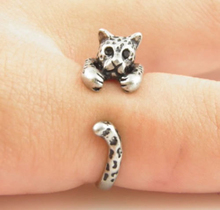 1PC Silver Fashion Punk Unisex Girl Women Mens Cute Dog Ring Pet Antique Vintage Animal Gift Puppy Wrap Adjustable