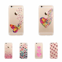 Watercolor Butterfly Pink Love Heart Phone Cases For iPhone 6 6s 5 5s se 7 7Plus Transparent Hard PC Cell Phone Cases Cover Skin