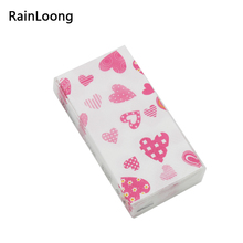[RainLoong] Pocket Paper Napkin Love Beverage Tissue Print Handkerchiefs For Decoration Personal Care 21*21cm 10pcs/pack/lot(China)