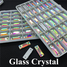 144pcs/box 7x21mm Long Rectangle Sew on Glass Crystals Crystal AB Color Flatback 2 Holes Sewing Rhinesyones for Dress Making
