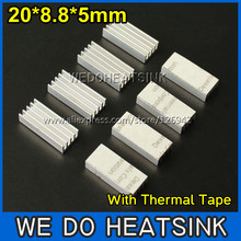 50pcs 20x8.8x5mm Ram Heatsink Chipset Aluminum Heatsink With Thermal Conductive Tape(China)