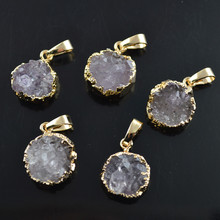 Gray Drusy Quartz 12mm Coin Shape Cute Small Pendant Gold Plating Fashion Jewelry 5pc/lot(China)