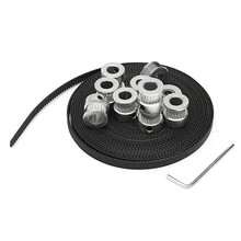 Durable 8Pcs GT2 20TBore 8mm Timing Pulley+ 5m Belt +20T 5mm Tensioner +Wrench For RepRap 3D Printer