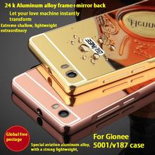 For Gionee 5001 case ultra-thin Aluminum Metal Frame+mirror plastic Protective Back Cover for Gionee 5001/v187 mobile phone bag(China)