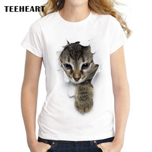 Summer Unique 3d Cute cat Design T Shirt Women's short sleeve lovely pussy print Tops cool Hipster tees cute girl t shirt px963(China)