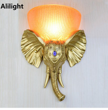 Europe Resin Wall Lamp Hand Painted Gold Elephant LED Wall Light Sconce Porch Hallway Living Dining Room Bedroom Home Fixtures(China)