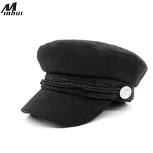 Minhui Vintage Hats for Women 2015 New Fashion Military Hat Gorras Planas Snapback Caps Female Casquette Sun Hat(China)
