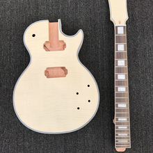 DIY Unfinished Electric Guitar Kit, Solid Mahogany body & headstock are with Flame maple top, without guitar parts, Wholesale