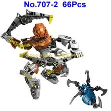 707-2 66pcs Bionicle Pohatu Master of Stone Building Block Compatible 70785 Brick Toy(China)
