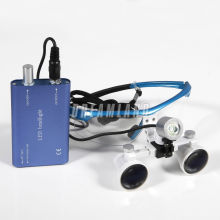 Dental Surgical 3.5x R Binocular Magnifier Glasses Loupes + LED Head Light Blue