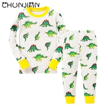 CHUNJIAN 100% cotton boys Santa Claus Christmas Pajamas Children's Sleepwear Baby Dinosaur Night Wears Kids Pyjamas(China)
