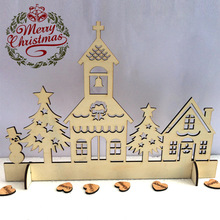 2pcs/pack Wooden House Church Christmas Ornaments Christmas Party Home Decoration Christmas Snowman Church Decor Supplies(China)