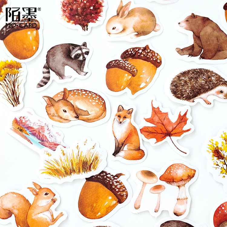 46 Pcs/pack Autumn Forest Party Adhesive Diy Stickers Decorative Album Diary Stick Label Decor Stationery Stickers