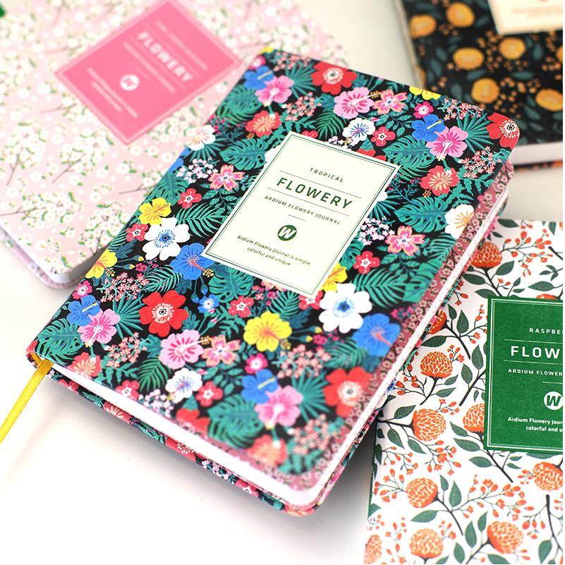 Korean Cute PU Leather cover Floral Flower Schedule Book Diary Weekly Monthly Planner Organizer Notebook Kawaii Stationery 01605(China (Mainland))