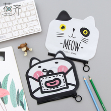 huaqi Cute fat Cat bear PVC Waterproof School Pencil Cases file bag Stationery Pencil case Storage Organizer Bag Student Prize(China)