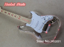 Free Shipping-Electric Guitar,Acrylic Body,Maple Fretboard with Red led Lights,Chrome Hardware,can be Customized