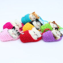 Super Cute Simulation Sounding Shoe Kittens Cats Plush Toys Keychain Bag Pendant DIY Cartoon Animal Dolls Christmas Gift