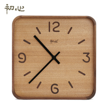 Artistic Handmade Wooden Wall Clock Creative Brief Walnut Clock for Home Office Decor(China)