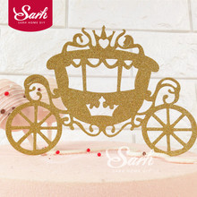 3PCS Bling Gold Sliver Dream Princess Carriage Floral Insert Cards with Plasticstick Cake Decorations Birthday Party Gift(China)
