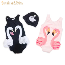 Ins*Swan Baby Girls Rompers Summer Toddler Girl Dresses Pink Flamingo Jumpsuit For Girls Infant Kids Swimming Clothes