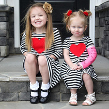 Girls stripe dresses Cotton Short Sleeve Black and White Stripes Heart Pattern Dress 2017 Summer Casual Fashion Baby Clothes