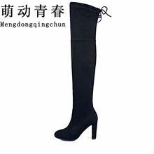 Buy Women Stretch Faux Suede Slim Thigh High Boots Sexy Fashion Knee Boots High Heels Woman Shoes Black Gray Winered for $28.62 in AliExpress store