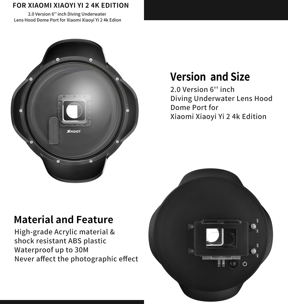 SHOOT 6 inch Diving Dome Port for Xiaomi Yi 4K with Waterproof Case Underwater Dome Yi Xiaomi Yi Accessories
