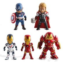 5pcs The avengers Interactive Hulk Iron man action figuras America shield  hammer figurine car Decoration