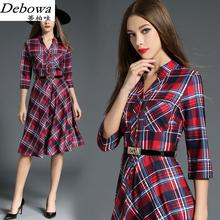 Debowa Plaid Casual Dress Women 2017 New Spring Dress 3/4 Sleeve V-neck Women Dresses Beautiful European Brand Slim Dress